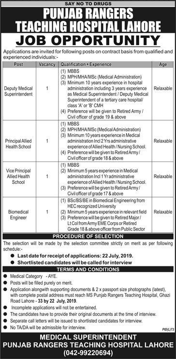 Punjab Rangers Teaching Hospital Lahore Jobs 2019 for Biomedical Engineer & Medical / Management Posts