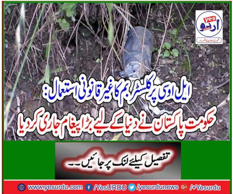 Illegal Use of Cluster Bombs on LoC: Government of Pakistan Releases Big Message to the World