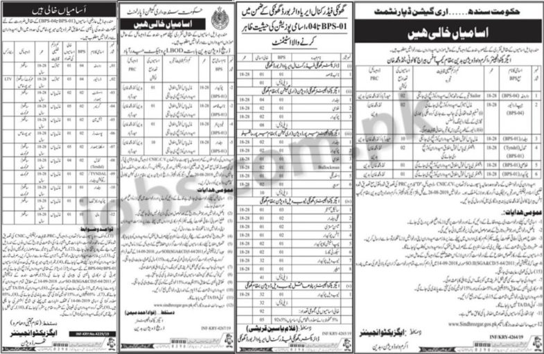 Irrigation Department Jobs 2019 for 50+ Staff Posts (Multiple Districts)