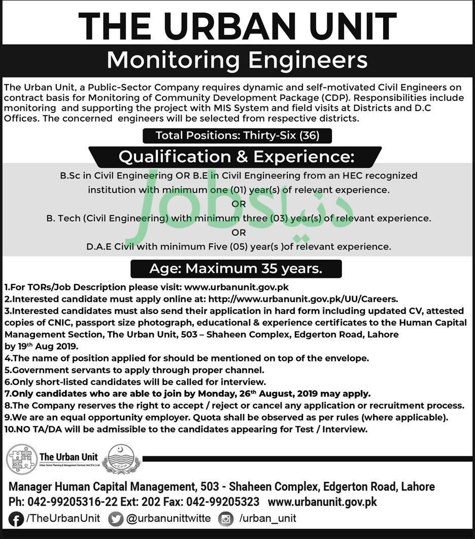 The Urban Unit Punjab Jobs 2019 for 36+ Monitoring Engineers