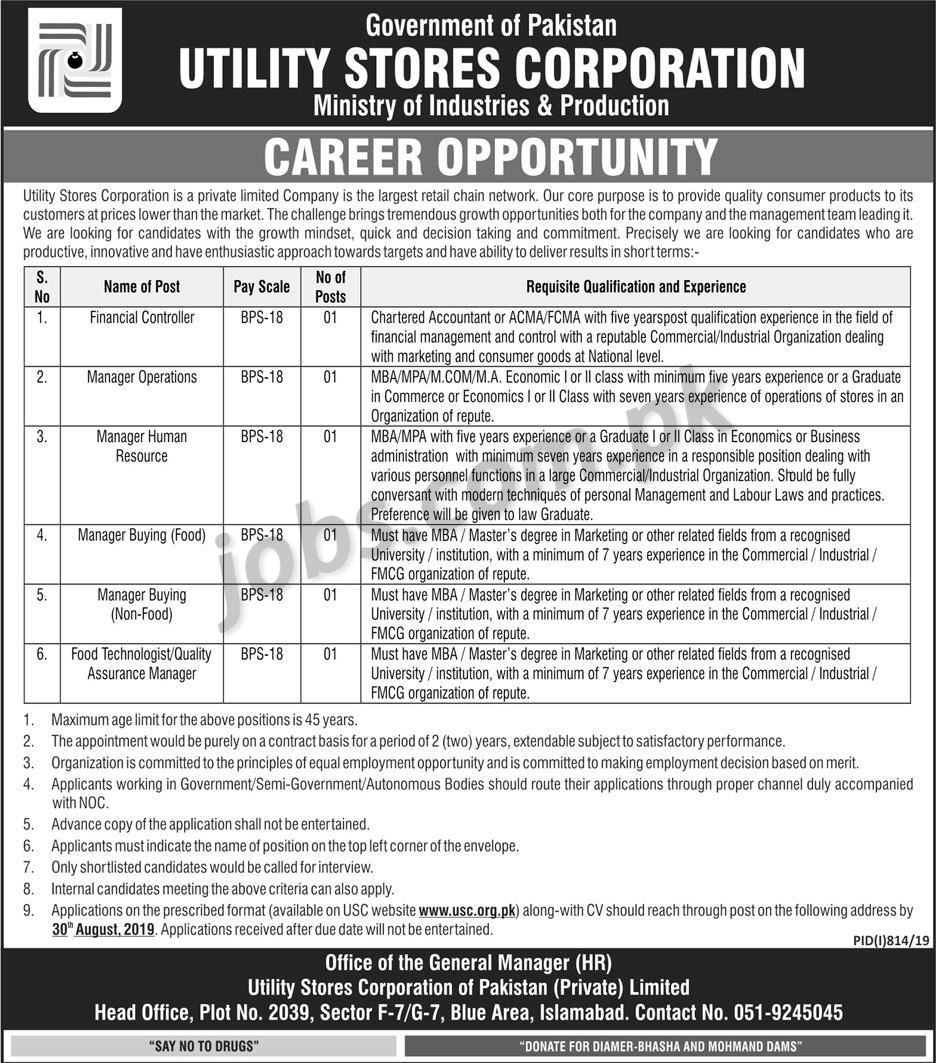 Utility Stores Corporation (USC) Jobs 2019 for Manager HR, Finance, Operations, Procurement, Food Technologist & Other