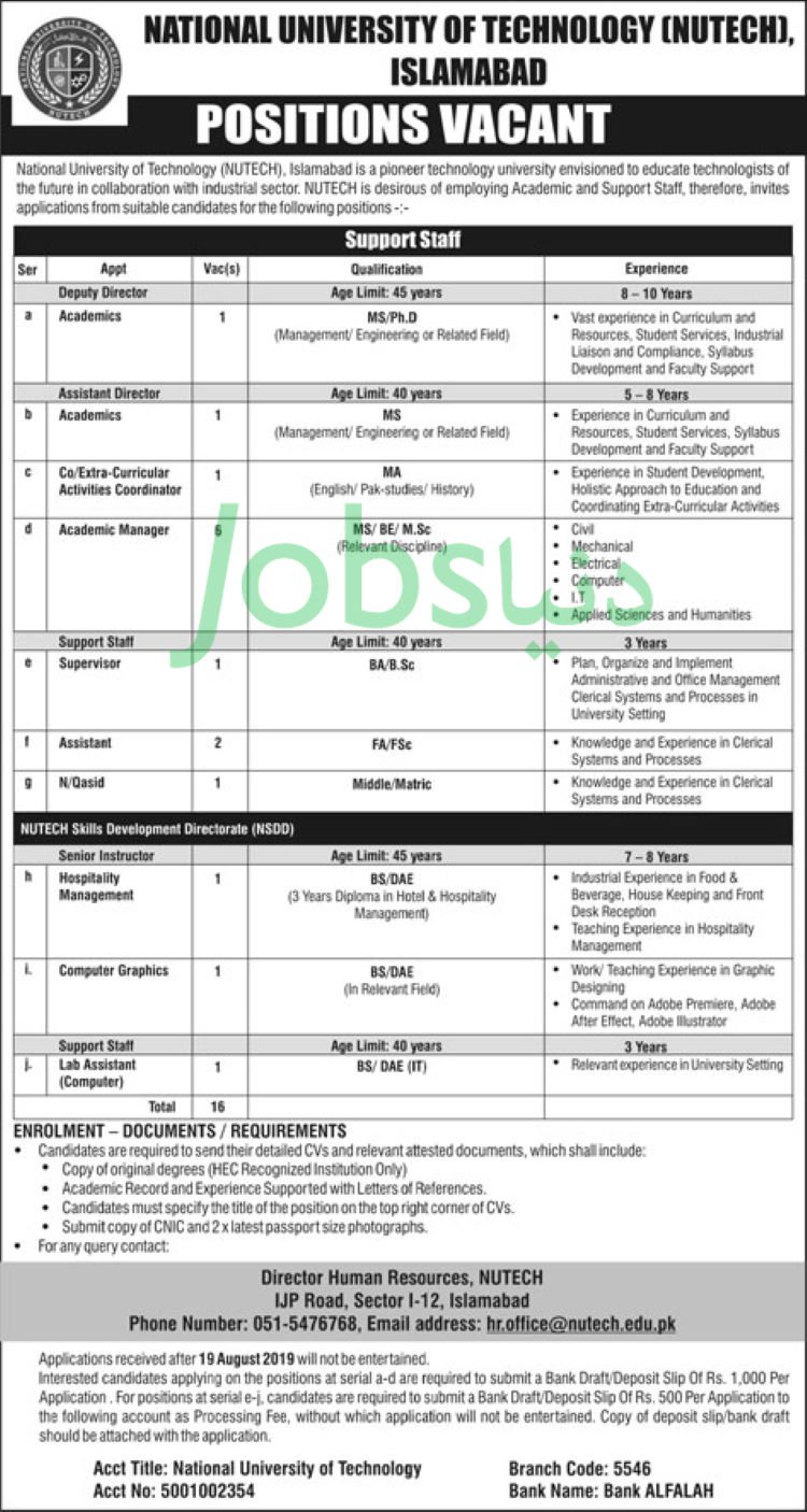 National University of Technology (NUTECH) Jobs 2019 for IT, Admin/Coordinator, Assistants, Managers, Supervisors & Other