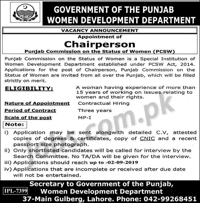 Women Development Department Punjab Jobs 2019 for Chairperson