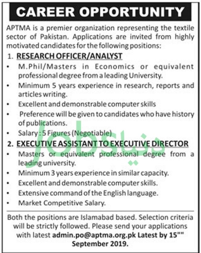 APTMA Pakistan Jobs 2019 for Research Officer / Analyst and Executive Assistant