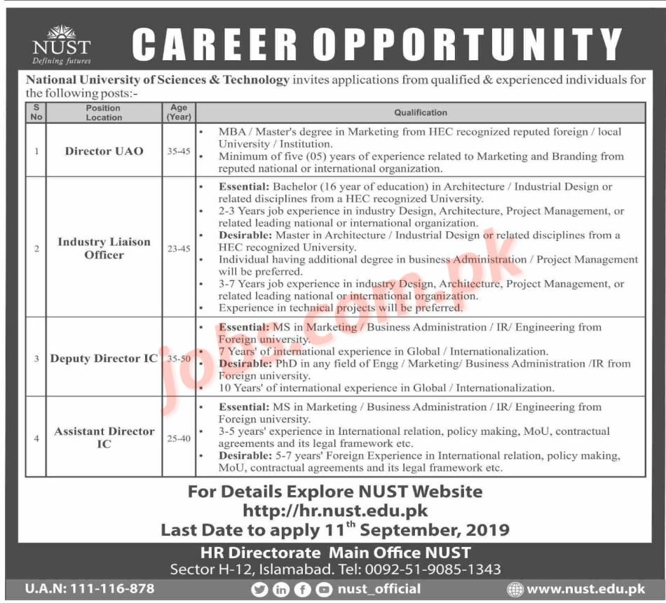 NUST Jobs 2019 for Liaison Officer, Assistant / Deputy Directors and Directors