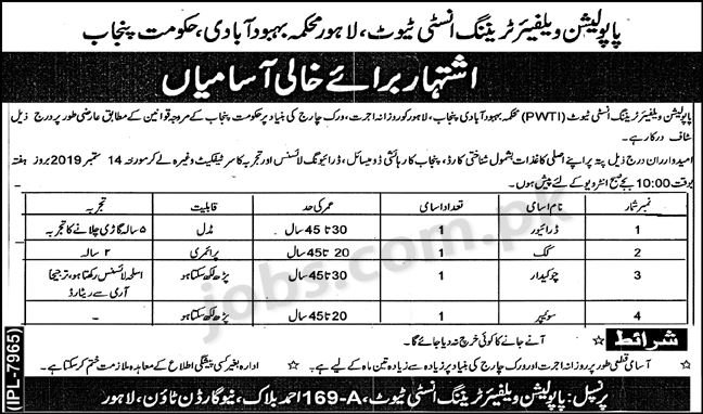 Population Welfare Department Lahore Jobs 2019 for Driver & Support Staff