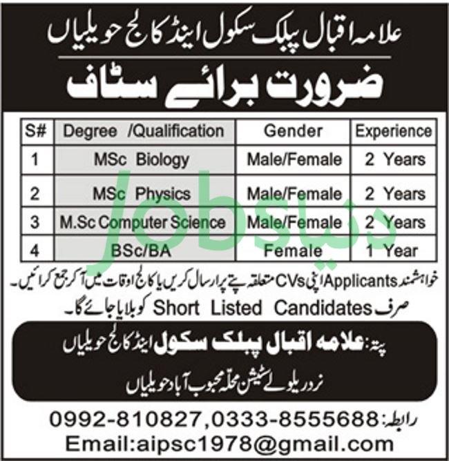 Allama Iqbal Public School & College Havelian Jobs 2019 for Teaching Staff