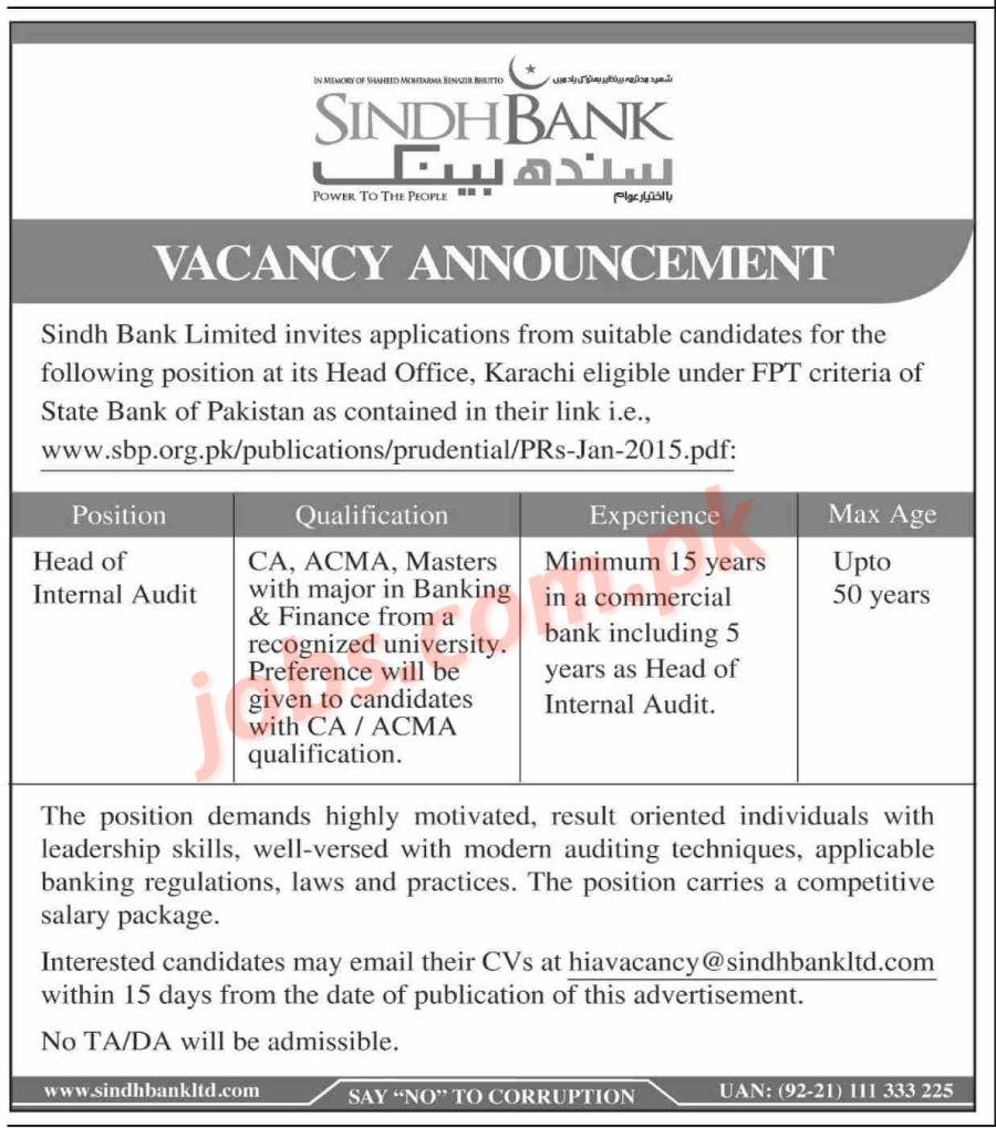 Sindh Bank Jobs 2019 for Head of Internal Audit