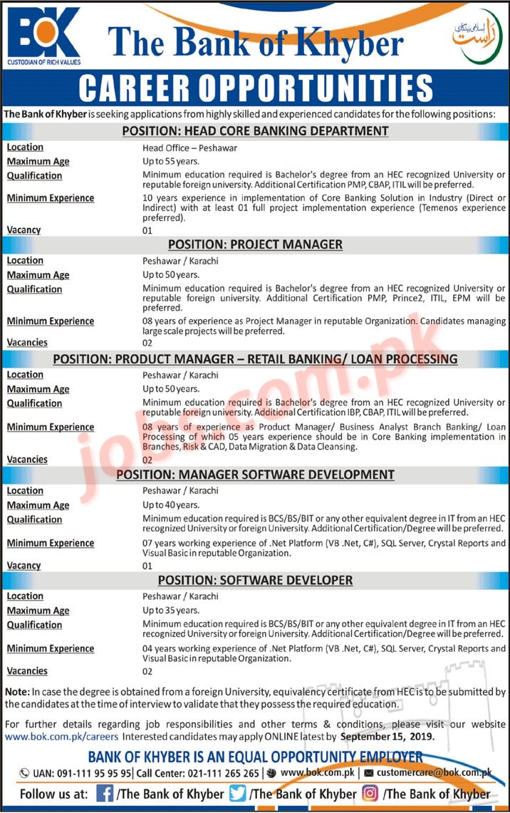 Bank of Khyber Jobs 2019 for IT, Managers and Department Head Vacancies