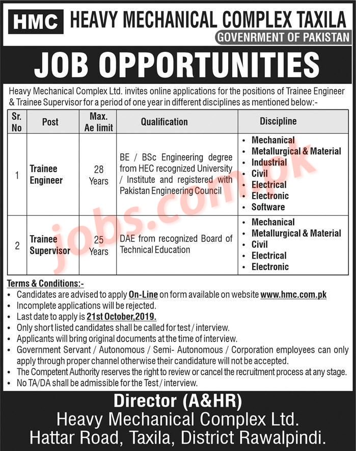Heavy Mechanical Complex Taxila Jobs 2019 For Trainee Supervisors And Trainee Engineers