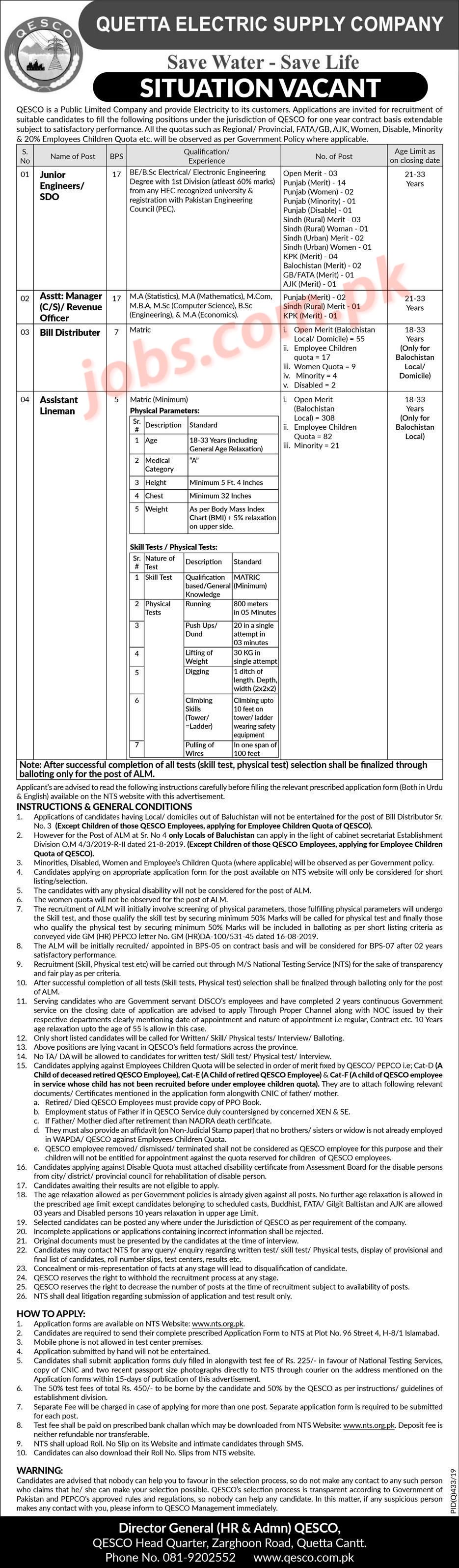 Quetta Electric Supply Company (QESCO) Jobs 2019 For 538+ Assistant Lineman, Bill Distributors, Jr Engineers And Revenue Officers