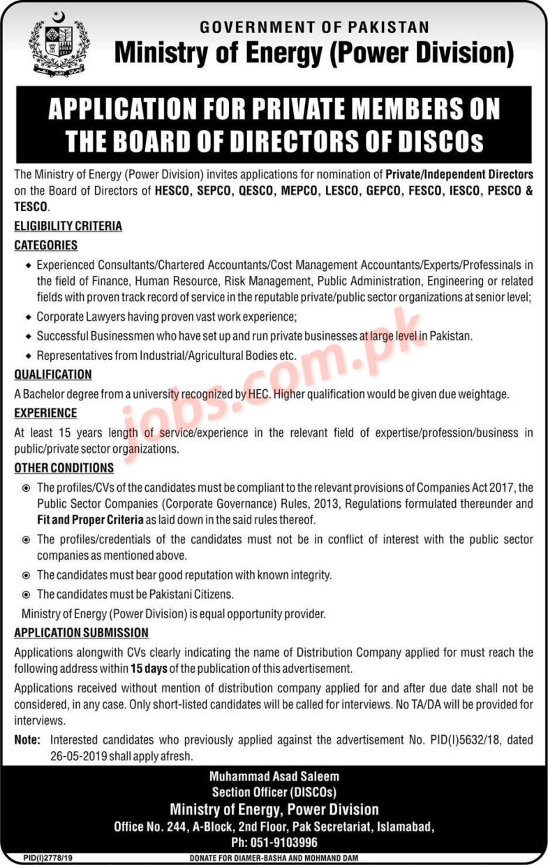 Ministry,of,Energy,Jobs,2019,for,Private,Members,and,Directors Posted:,23,Nov,2019,11:05,PM,PST Ministry,of,Energy,Jobs,2019,for,Private,Members,and,Directors,to,be,filled,immediately.,Required,qualification,from,a,recognized,institution,and,relevant,work,experience,requirement,are,as,following.,Eligible,candidates,are,encouraged,to,apply,to,the,post,in,prescribed,manner.,Incomplete,and,late,submissions/applications,will,not,be,entertained.,Only,short,listed,candidates,will,be,invited,[…] Last,Date,of,Apply,:,9th,December,2019