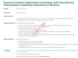 Research,Associate,(Nephrology,,Dermatology,,Infectious,Diseases,,Pulmonology,&,Cardiology),,Department,of,Medicine,–,Aga,Khan,University